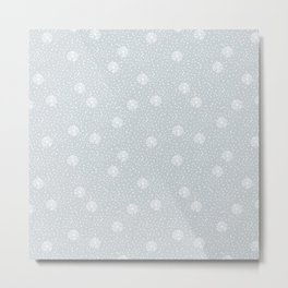 Mauve blue white hand painted polka dots snowflakes pattern Metal Print