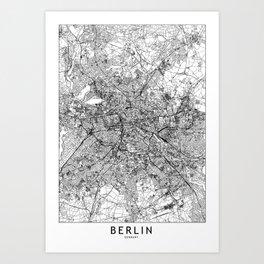 Berlin White Map Art Print