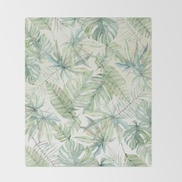 Green Tropical Leaves Throw Blanket