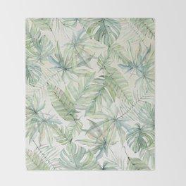 Green Tropical Leaves Throw Blanket