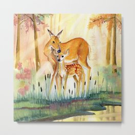 Mom and Little Deer Metal Print