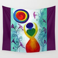 chakra Wall Tapestries featuring Chakra Angel by TinyMystic