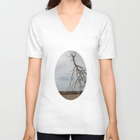 israel V-neck T-shirts featuring Alian Tree at The Israel Museum Jerusalem by AntWoman