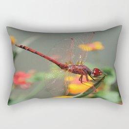 Red Skimmer or Firecracker Dragonfly With Lantana Background Rectangular Pillow