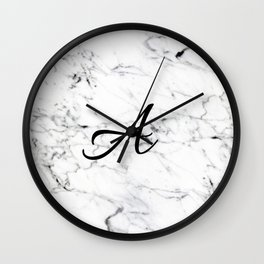 Letter A on Marble texture Initial personalized monogram Wall Clock