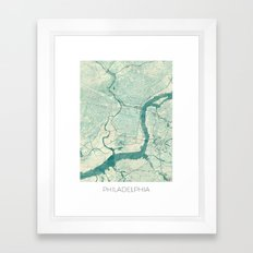 Philadelphia Map Blue Vintage Framed Art Print