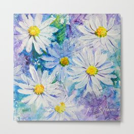 Daisy, Daisies Floral Mixed Media Painting Flower Art Metal Print