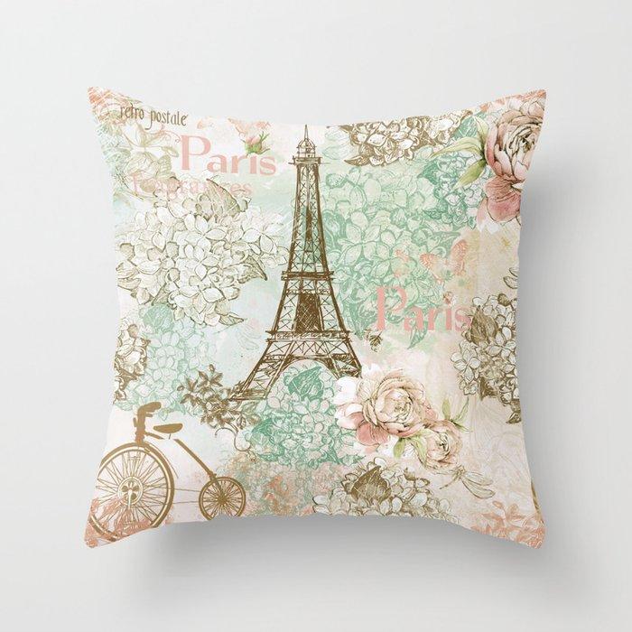 I Love Paris Vintage Shabby Chic Eiffeltower France Flowers