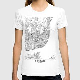 Lisbon White Map T-shirt