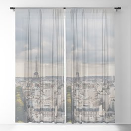 the Eiffel Tower in Paris on a stormy day. Sheer Curtain
