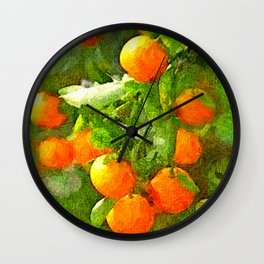 TROPICAL ORANGE TREE PAINTING Wall Clock