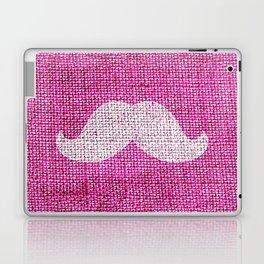 Hipster Funny Mustache On Girly Pink Jute Burlap Laptop & iPad Skin
