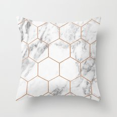 Rose gold marble hexagons honeycomb pattern Throw Pillow