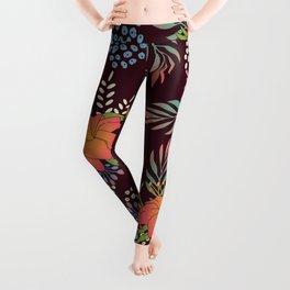 Red Floral Print Leggings