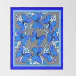 Decorative Blue Shades Butterfly Grey Pattern Art Throw Blanket