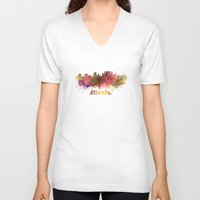 atlanta V-neck T-shirts featuring Atlanta skyline in watercolor by Paulrommer