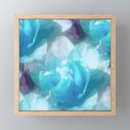 Turquoise abstracted tulips Framed Mini Art Print