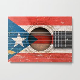 Old Vintage Acoustic Guitar with Puerto Rican Flag Metal Print