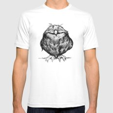Owl Ball Mens Fitted Tee LARGE White