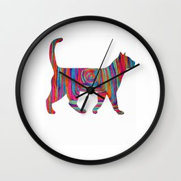 yarn Squart cat Wall Clock