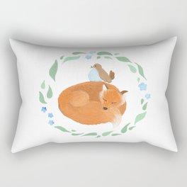 Fox and Bird Rectangular Pillow