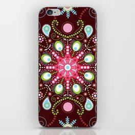 Pointillism mandala | Brown, red and green iPhone Skin