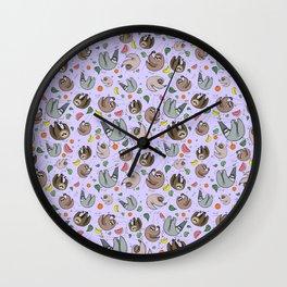 Pretty Sloth Pattern Wall Clock