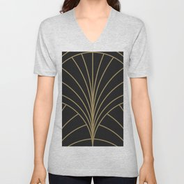 Round Series Floral Burst Gold on Charcoal Unisex V-Neck