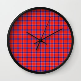 Maasai Shuka - Red, Blue, & White Wall Clock