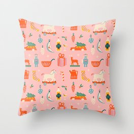 Vintage Christmas in pink Throw Pillow