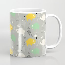 Seamless pattern with cute baby buffaloes and native American symbols, gray Coffee Mug