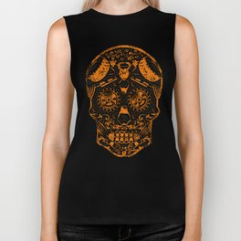Strongman Sugar Skull, Dia De Los Deadlift Biker Tank