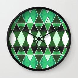 Art Deco Triangles Green Wall Clock