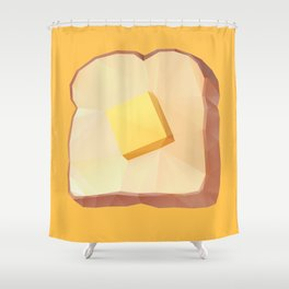 Toast with Butter polygon art Shower Curtain