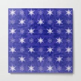 Royal Purple and White Christmas Snowflakes Metal Print