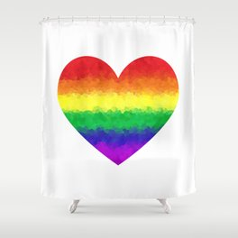 Pride Geometric Rainbow Heart LGBT Love and Support Shower Curtain