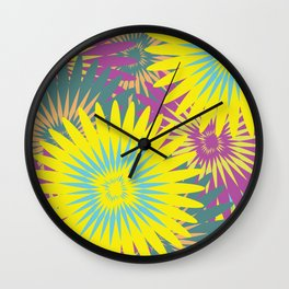 Tropical Flower Pattern Wall Clock