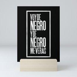 Voy de negro — Letterpress (Black) Mini Art Print