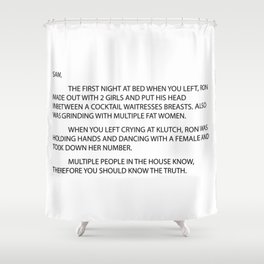 Anonymous letter Shower Curtain