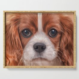 Drawing Cavalier King Charles Spaniel Serving Tray