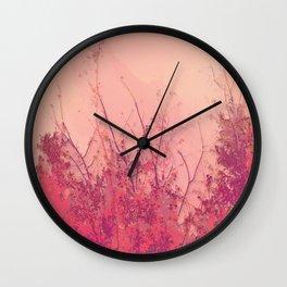 Lost in Pink (Carmine Pink Botanic Garden) Wall Clock