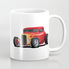 Classic Bold Red Custom Street Rod Car with Yellow amd Orange Hotrod Flames Coffee Mug