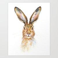 hare Art Prints featuring HARE by Patrizia Ambrosini