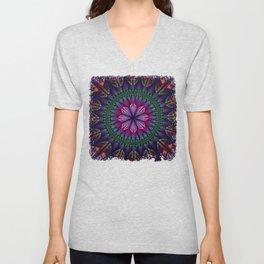 Summer mandala with fantasy flower and petals Unisex V-Neck