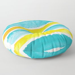 Watercolor yellow and turquoise stripes Floor Pillow