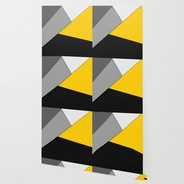 Simple Modern Gray Yellow and Black Geometric Wallpaper