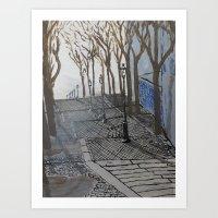Stairs in Montmartre (Escalier de la butte Montmartre), Paris 18e Art Print