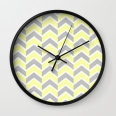 Sun and Clouds Chevron Wall Clock