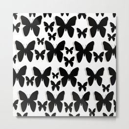 Butterfly Black and White Pattern Metal Print