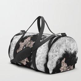 Gray Black White Agate Glitter Glamor #5 #gem #decor #art #society6 Duffle Bag